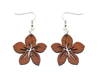 Hawaiian Jewelry Cut Out Plumeria Flower Dangling Wood Earrings From Maui Hawaii