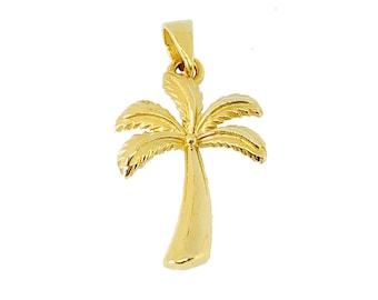 Hawaiian Jewelry 14K Gold Mini Palm Tree Pendant from Maui, Hawaii