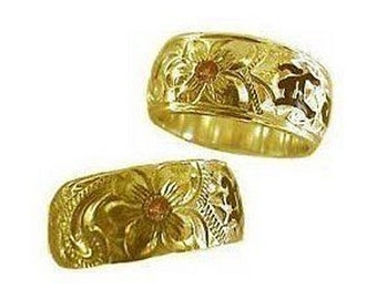 Hawaiian Heirloom Jewelry 14K Yellow Gold Custom 8mm Birthstone Ring with YOUR Name from Maui, Hawaii