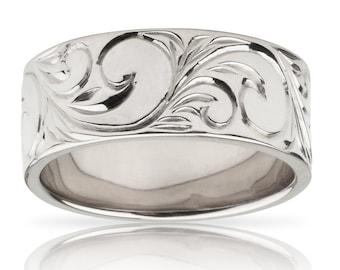 Hawaiian Heirloom Jewelry 14k White Gold Flat Hawaiian Scroll Ring from Maui, Hawaii