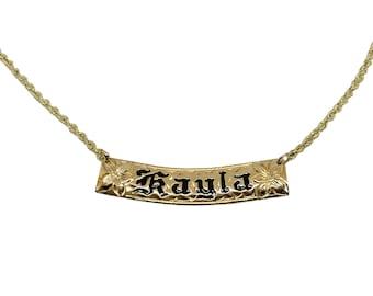 Hawaiian Heirloom Jewelry Custom 14k Gold Horizontal Pendant with YOUR Name from Maui, Hawaii