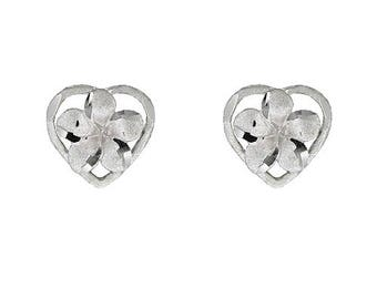 Hawaiian Heirloom Jewelry 14 Karat White Gold Plumeria Flower Heart Earrings from Maui, Hawaii