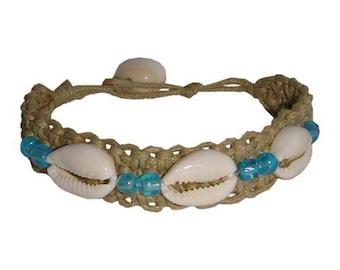 Hawaiian Jewelry Cowry Shell Handmade Double Blue Bead Hemp Bracelet from Maui, Hawaii