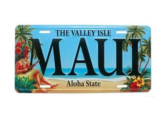 6in x 12in Vintage Hawaiian Hula Girl Embossed Maui Aluminum License Plate