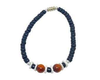 Hawaiian Jewelry Handmade Black Coconut Bead Puka Shell Bracelet with Koa Wood Beads from Maui, Hawaii