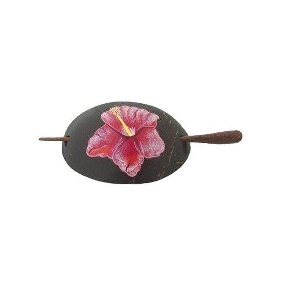 FREE SHIPPING TO U.S. Hawaiian Hibiscus Flower Coconut Wood Hawaii Barrette