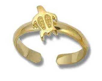 Hawaiian Heirloom Jewelry Sterling Silver With 14k Gold Finish Honu Turtle Toe Ring from Maui, Hawaii