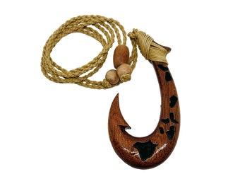 Hawaiian Jewelry Handmade Hawaiian Islands Koa Wood Fish Hook Necklace