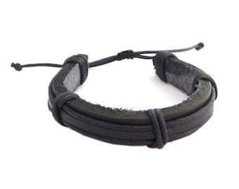 Hawaiian Black Leather Hawaii Surfer Bracelet from Maui, Hawaii