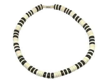 Hawaiian Jewelry Black and White Coconut Bead Surfer Necklace from Maui, Hawaii