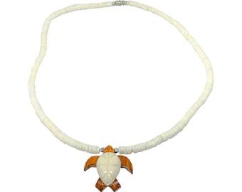 Hawaiian Jewelry Koa Wood and Buffalo Bone Honu Sea Turtle Puka Shell Necklace From Maui Hawaii