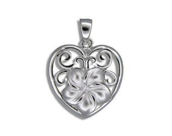 Hawaiian Heirloom Jewelry Plumeria Flower in Heart Sterling Silver Pendant from Maui, Hawaii
