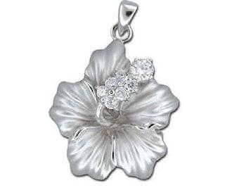 Hawaiian Jewelry Sterling Silver Hibiscus Flower CZ Pendant from Maui, Hawaii