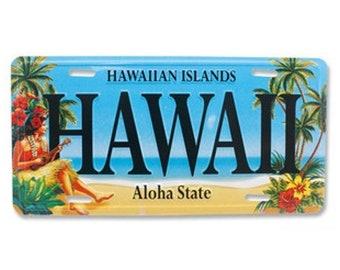 6in x 12in Vintage Hawaiian Hula Girl Embossed Aloha State License Plate - Hawaii