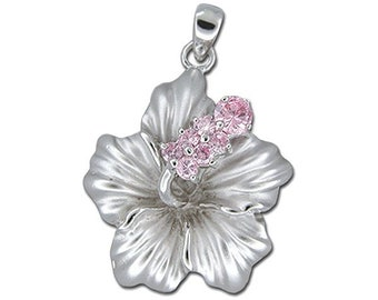 Hawaiian Jewelry Sterling Silver Hibiscus Flower Pink CZ Pendant from Maui, Hawaii