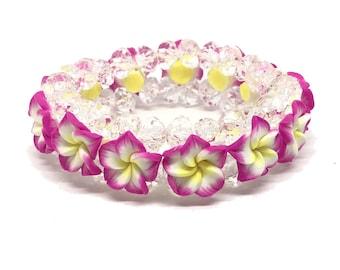 Hawaiian Jewelry Pink Fimo Plumeria Flower and Crystal Bead Elastic Bracelet from Maui, Hawaii