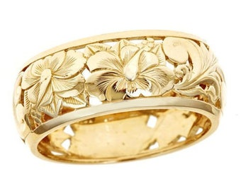 Hawaiian Heirloom Jewelry 14k Yellow Gold 8mm Cut Out Hibiscus Dome Ring from Maui, Hawaii