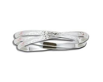 Hawaiian Heirloom Jewelry 3 Bangle Sterling Silver Eternity Bracelet from Maui, Hawaii