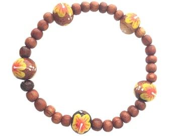 Hawaiian Jewelry Handmade Koa Wood Bead Yellow Flower Elastic Bracelet from Maui, Hawaii