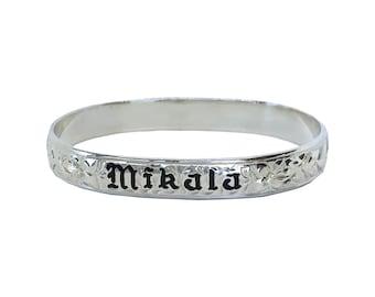 Hawaiian Heirloom Jewelry Sterling Silver Custom Bangle Bracelet with YOUR Name from Maui, Hawaii