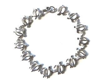 Hawaiian Jewelry Sterling Silver Honu Hawaii Sea Turtle Link 7 Inch Bracelet from Maui, Hawaii