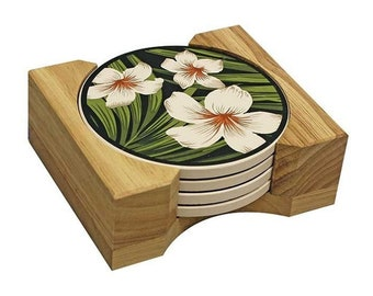 Hawaiian Ceramic Coaster Set Plumeria Flower and Palm from Maui, Hawaii