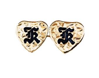 Hawaiian Heirloom Jewelry Custom 14K Yellow Gold Initial Heart Earrings- YOUR INITIAL from Maui, Hawaii
