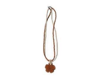 Hawaiian Jewelry Koa Wood Large Plumeria Flower With Koa Rice Bead Necklace From Maui Hawaii