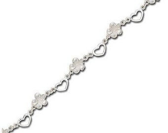Hawaiian Jewelry Sterling Silver Hawaii Plumeria Flower and Hearts Anklet from Maui, Hawaii