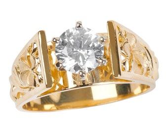 Hawaiian Heirloom Jewelry 14k Yellow Gold 1 Carat Cubic Zirconia Wedding Engagement Ring