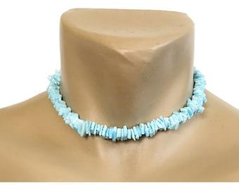 "Hawaiian Jewelry Handmade 16"" Light Blue Chip Shell Choker Necklace from Maui, Hawaii"