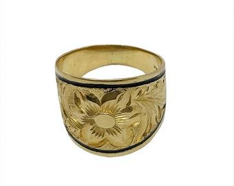 Hawaiian Heirloom Jewelry 14 Karat Gold 18mm Tapered Black Enamel Border Ring from Maui, Hawaii