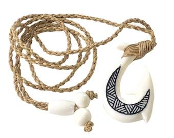 Hawaiian Jewelry Black Tattoo Buffalo Bone SMOOTH Fish Hook Hawaii Necklace From Maui Hawaii