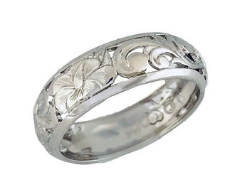 Hawaiian Heirloom Jewelry 14k White Gold 6mm Cut Out Hibiscus Dome Ring from Maui, Hawaii