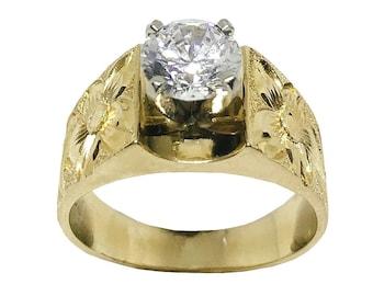 Hawaiian Heirloom Jewelry 14k Yellow Gold Cubic Zirconia 1 CT French Mount Ring from Maui, Hawaii