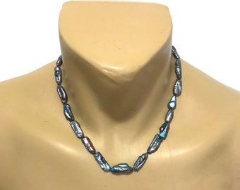 Genuine Rare Freshwater Lake Biwa Silver and Blue Pearl Strand Necklace from Maui, Hawaii