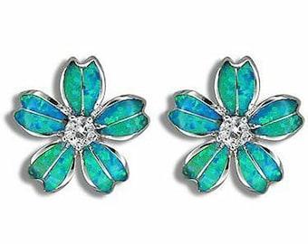 Sterling Silver Synthetic Blue Opal Cubic Zirconia Plumeria Flower Hawaiian Jewelry Earrings from Maui, Hawaii