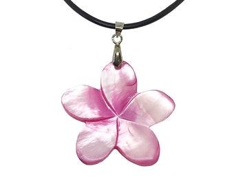 Hawaiian Jewelry Handmade Pink Shell Plumeria Flower Necklace from Maui, Hawaii