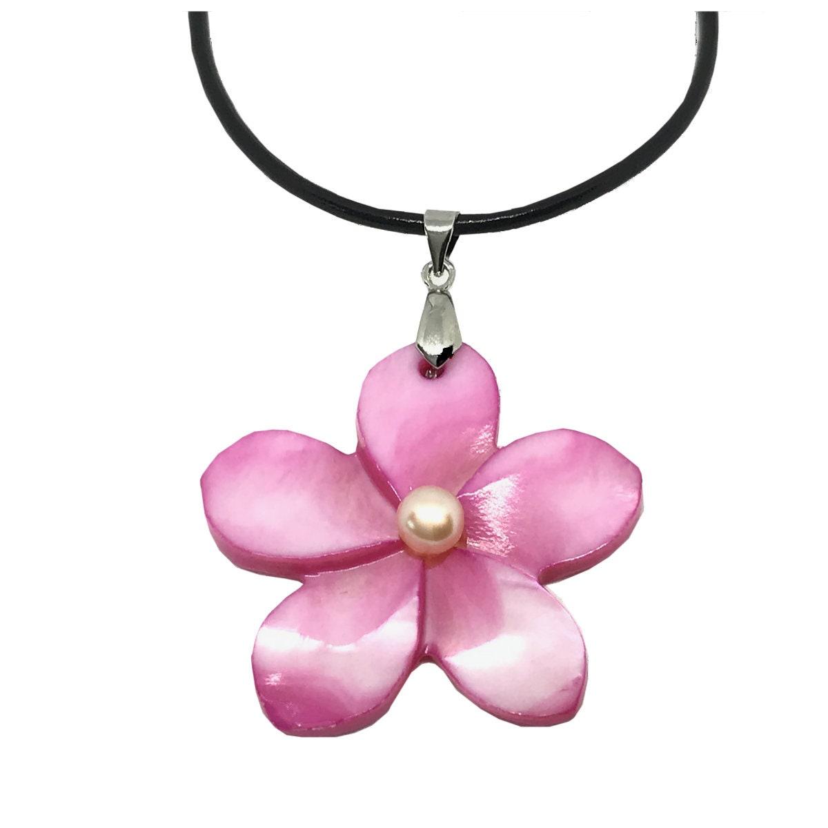 Hawaiian Jewelry Handmade Pink Shell Plumeria Flower Necklace Etsy