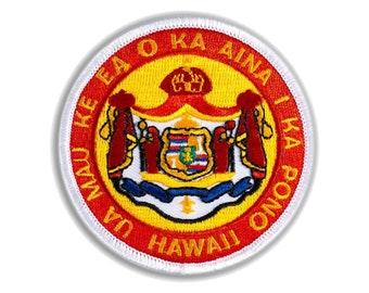 Hawaiian Coat of Arms Iron-On Embroidery Applique Hawaii State Patch