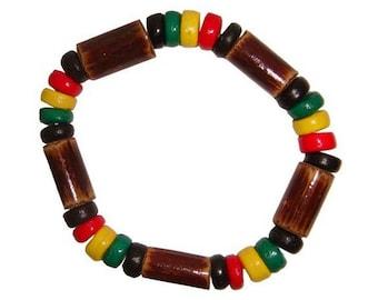 Hawaiian Jewelry Handmade Hawaiian Rasta Reggae Elastic Bracelet from Maui, Hawaii