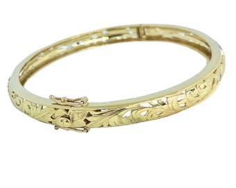 Hawaiian Jewelry 14K Gold Hibiscus Flower Cut Out Dome Bracelet with Hinge