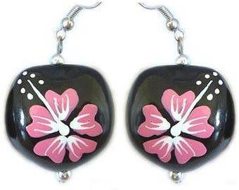Hawaiian Jewelry Handmade Pink Hibiscus Flower Kukui Nut Hook Earrings From Maui Hawaii