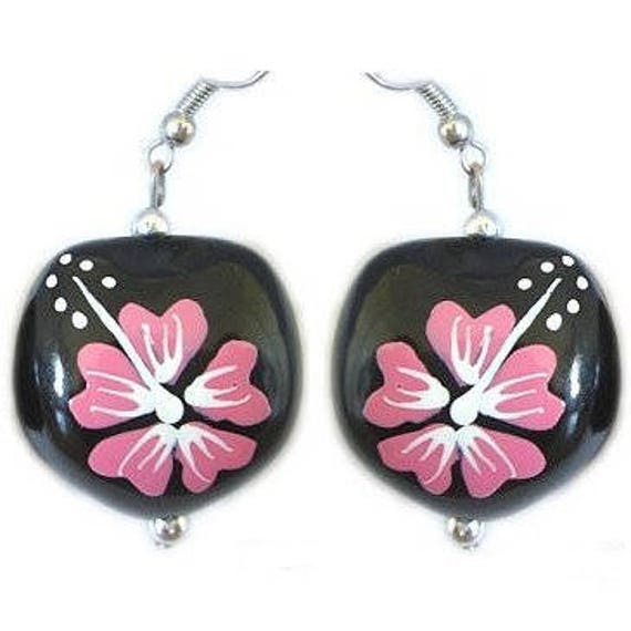 Hawaiian Jewelry Handmade Pink Hibiscus Flower Kukui Nut Hook Etsy