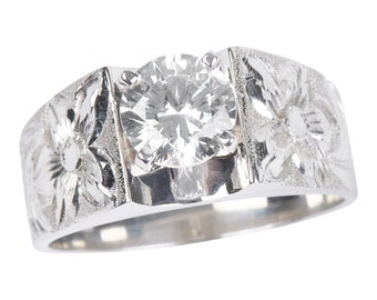 Hawaiian Heirloom Jewelry 14k White Gold Cubic Zirconia 1 CT French Mount Ring from Maui, Hawaii