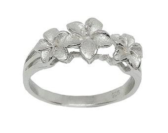 Hawaiian Jewelry Three Plumeria Flower Ring Sterling Silver Jewelry from Maui, Hawaii