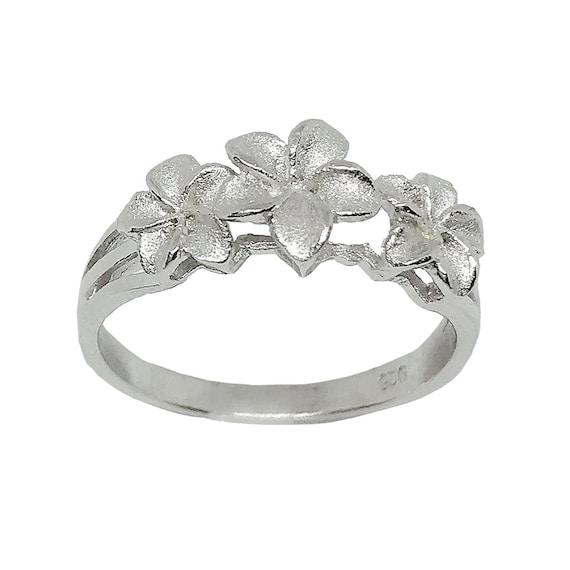 Hawaiian Heirloom Jewelry Plumeria Flower 1 ct CZ Ring Sterling Silver