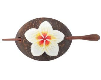 Hawaiian Plumeria Flower Coconut Wood Barrette from Maui, Hawaii