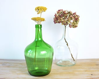 Vintage demijohn bottles 2 liters - Glass demijohn wine bottle flowers vase - French vintage decoration carboy demijohn white green
