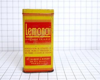 French vintage tin box, yellow and red medicine tin box, antique collectible tin box, drug tablets tin box, metal box, vintage metalic box